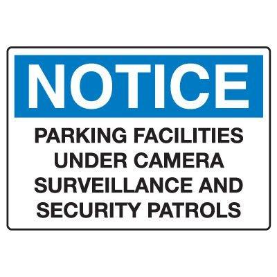 Traffic & Parking Signs - Notice Parking Facilities Under Surveillance