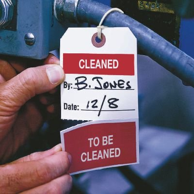 Quality Control Action Tags- Cleaned/To Be Cleaned