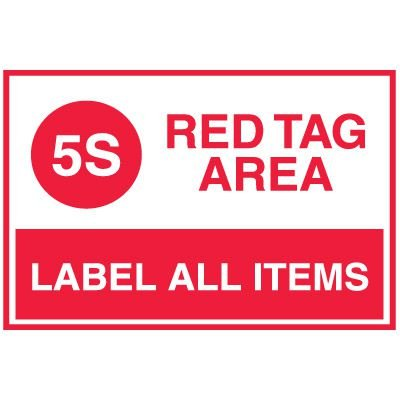Red Tag Area Wall Signs - 5S Red Tag Area