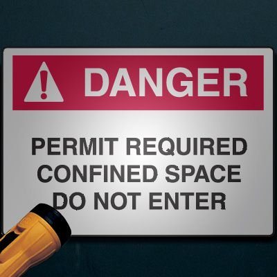 Reflective Confined Space Signs - Danger - Permit Required Do Not Enter