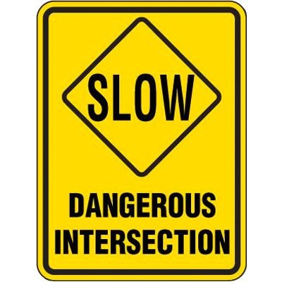 Reflective Speed Limit Signs - Slow Dangerous Intersection