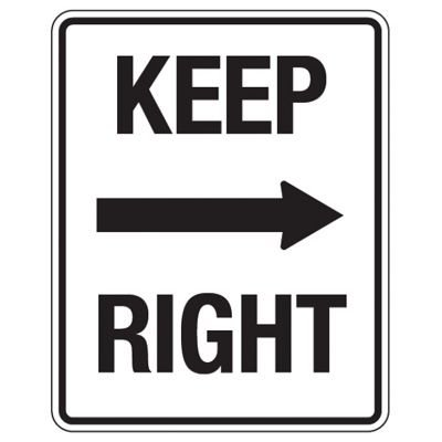 Reflective Traffic Reminder Signs - Keep Right (With Arrow)