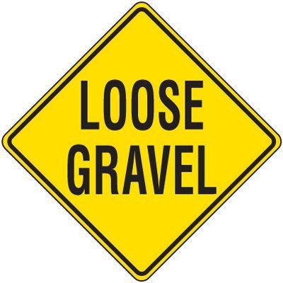 Reflective Warning Signs - Loose Gravel