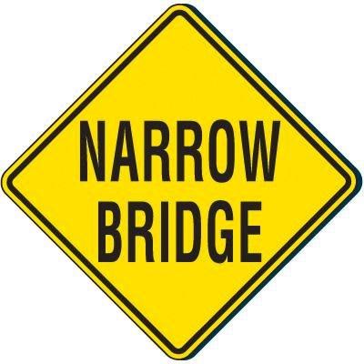 Reflective Warning Signs - Narrow Bridge