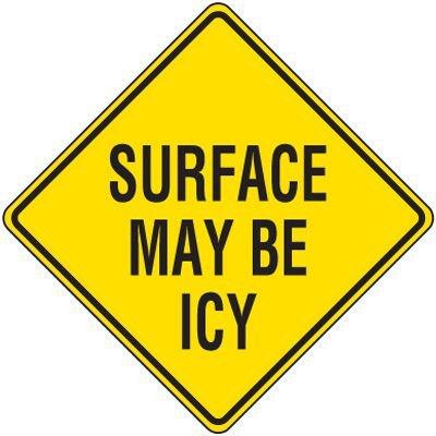 Reflective Warning Signs - Surface May Be Icy