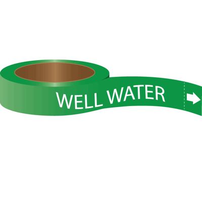Roll Form Self-Adhesive Pipe Markers - Well Water
