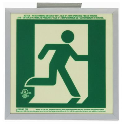 Running Man Graphic - 2FC Glo Brite® Exit Signs, Double-Sided
