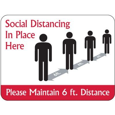 Temporary Floor Markers - Social Distancing in Place Here - Rectangle