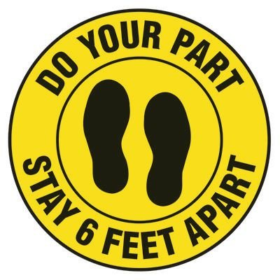 Floor Safety Signs - Stay 6 Feet apart