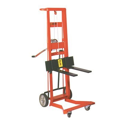 Steel Frame Four-Wheeled Winch Pedalift with Forks