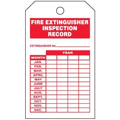 Inspection Tags-On-A-Roll - Fire Extinguisher Inspection Record