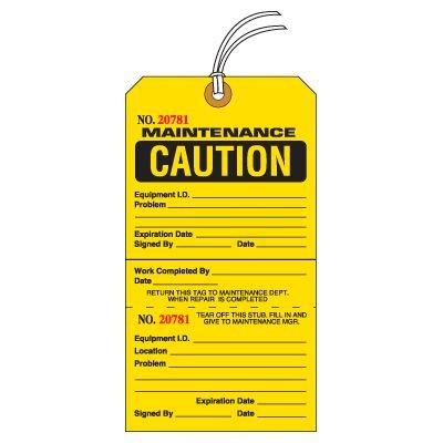 Tear-Off Jumbo Maintenance Caution Tags