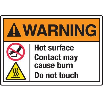 Temperature Warning Signs - Warning Hot Surfaces