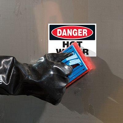 ToughWash® Labels - Danger Hot Water