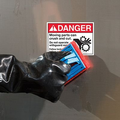 ToughWash® Labels - Danger Moving Parts