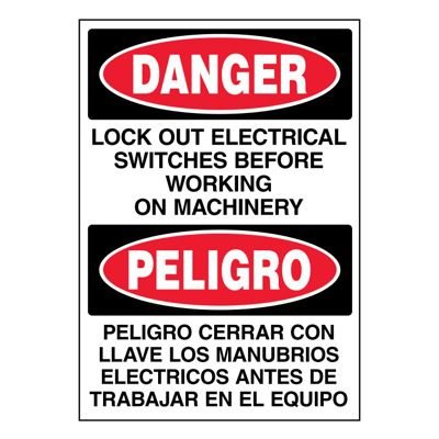 Ultra-Stick Signs - Danger Lock Out Switches (Bilingual)