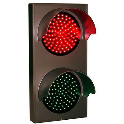 Vertical Hooded Direct View Signs - Red/Green