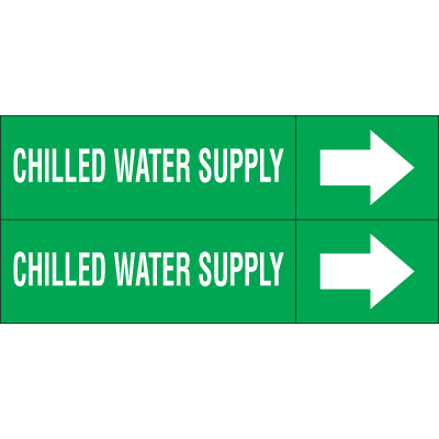 Weather-Code™ Self-Adhesive Outdoor Pipe Markers - Chilled Water Supply