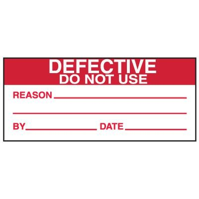Write-On Action Labels - Defective Do Not Use