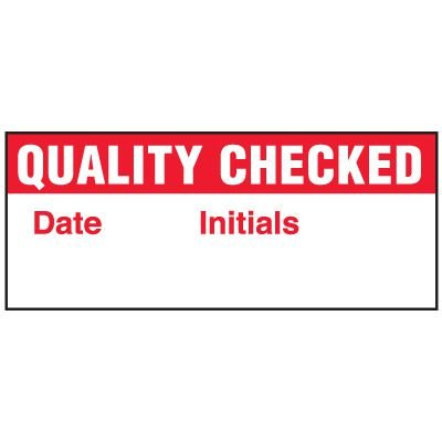 Write-On Status Roll Labels - Date ___ Quality Checked Initials ___