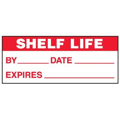 Write-On Status Roll Labels - Shelf Life By ___ Date ___ Expires ___