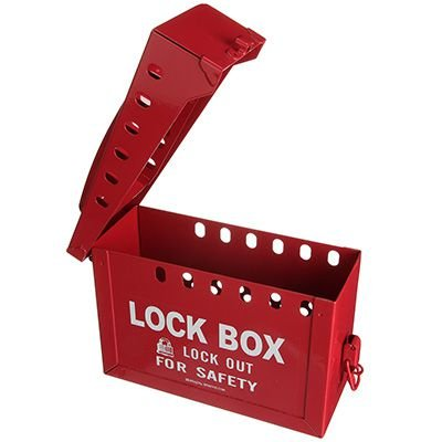 Portable Metal Lock Box - Red