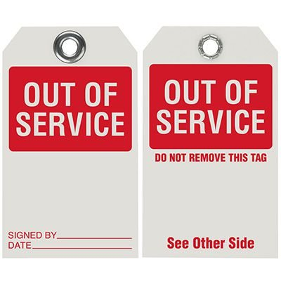 Out of Service - Dry Erase Tag