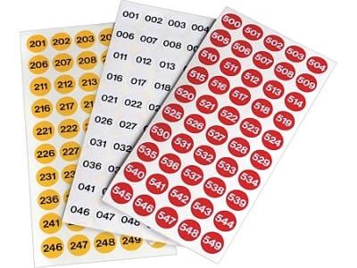 Fortlaufend nummerierte Lageretiketten aus Papier