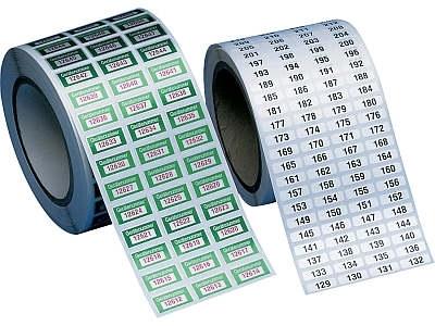 Nummerierte Polyesteretiketten auf Rolle
