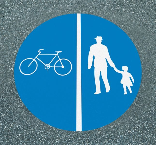 Getrennter Fuß- und Radweg – Asphaltfolie zur Straßenmarkierung, R10 gemäß DIN 51130/ASR A1.5/1,2