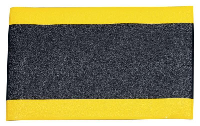 ECO Anti-Ermüdungsmatten mit gelben Randstreifen, Einzelmatten, R10 gemäß DIN 51130/ASR A1.5/1,2
