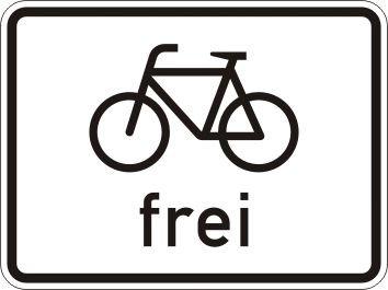 Radfahrer frei - Verkehrszeichen für Deutschland, StVO, DIN 67520