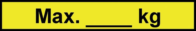 Max. [_] kg – Regalkennzeichnungen mit Gewichtsangaben