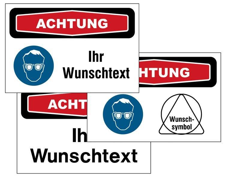 """Focusschilder """"Augenschutz"""" mit Symbol und Text nach Wunsch"""