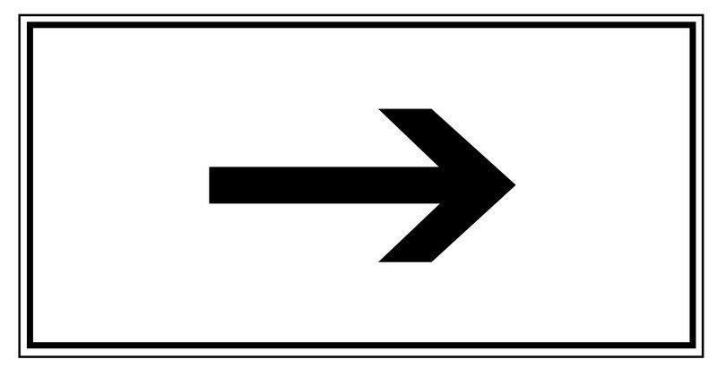 Richtungspfeil, rechtsweisend – Parkgebots-Zusatzschilder
