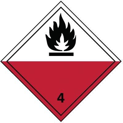 Selbstentzündliche feste Stoffe 4.2 - Gefahrzettel-Schilder zum Transport von Gefahrgut, Aluminium, ADR, RID, IMO, IATA, GGVSE, IMDG