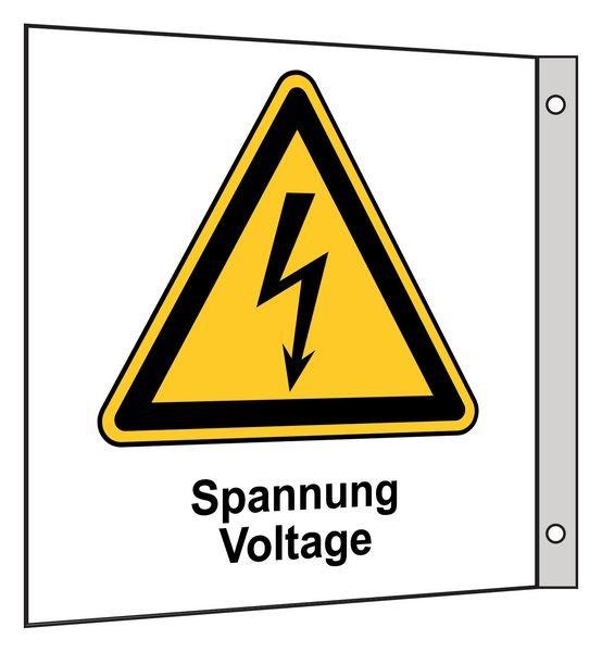 Spannung Voltage - Fahnen- und Winkelschilder, Elektrotechnik
