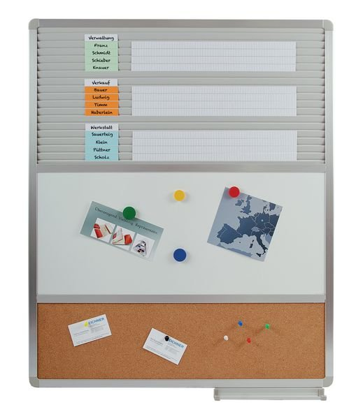 Einstecktafel mit Whiteboard und Pinnwand - Universelle Planungstafeln mit Zubehör
