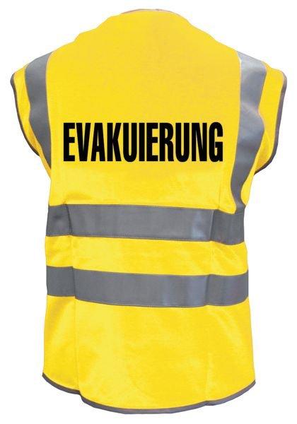 """Warnwesten mit """"EVAKUIERUNG"""" Standardtext"""
