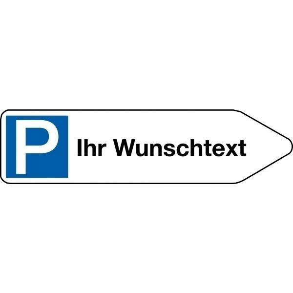 Parkplatz-Hinweispfeile / Wegweiser mit Text nach Wunsch, Aluminium