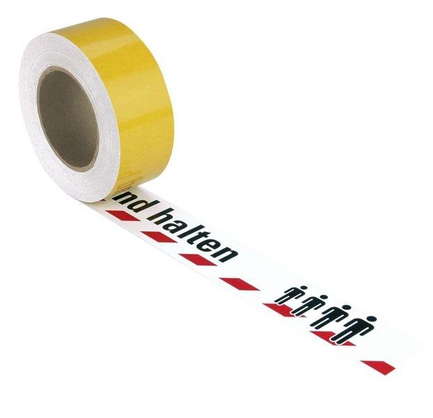 Bitte Abstand halten - Warnmarkierungsband mit Hygienehinweis