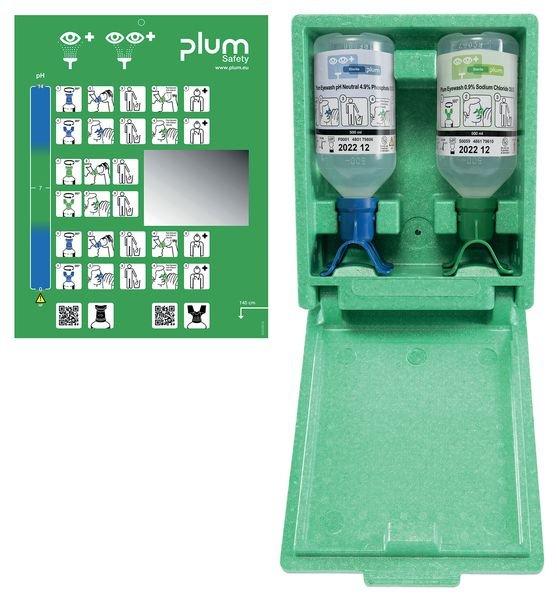 Plum DUO Augenspülflaschen in Wandbox, Kochsalz-/ ph-neutraler Lösung