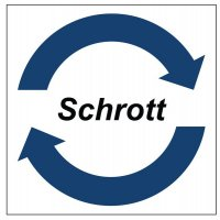 """Symbol-Wertstoff-Aufkleber / Schilder """"Schrott"""""""