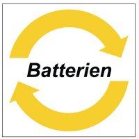 """Symbol-Wertstoff-Aufkleber / Schilder """"Batterien"""""""