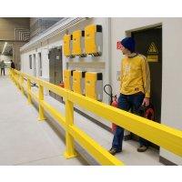 Rammschutz-Geländer-System mit Federelement, Inneneinsatz