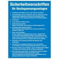 Vorschriften für Hochspannungsanlagen – Betriebsaushänge Elektrotechnik
