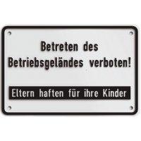"""Hinweisschilder """"Betreten des Betriebsgeländes verboten! - Eltern haften für Ihre Kinder"""""""