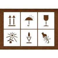 Versandgut-Markierschablonen, Set aus 6 Symbolen