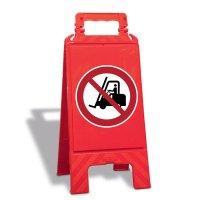 Für Flurförderzeuge verboten - Warnaufsteller mit Sicherheitssymbolen, EN ISO 7010