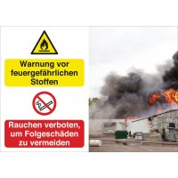 Warnung vor feuergefährlichen Stoffen/Rauchen verboten – Symbolschilder Prävention